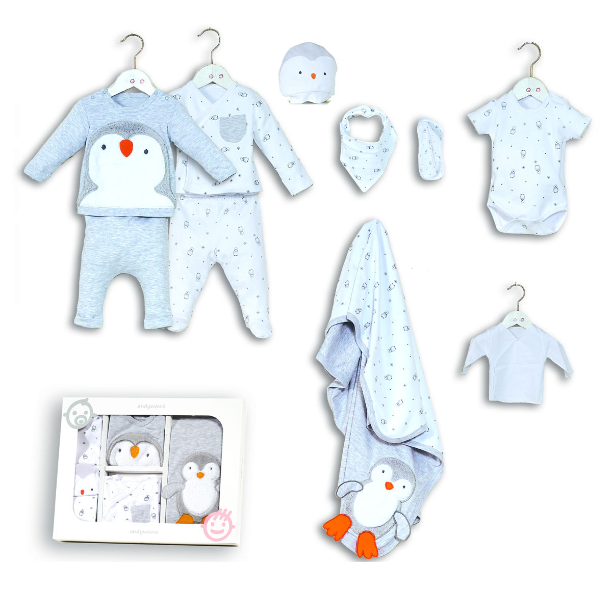 Andywawa 10 Set Penguin Boys Λευκό