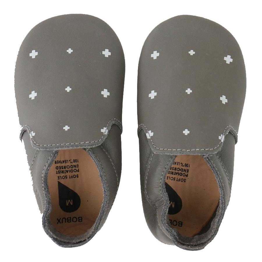 Bobux Βρεφικά Δερμάτινα Παπούτσια Soft Sole Vogue Smoke / White Plus