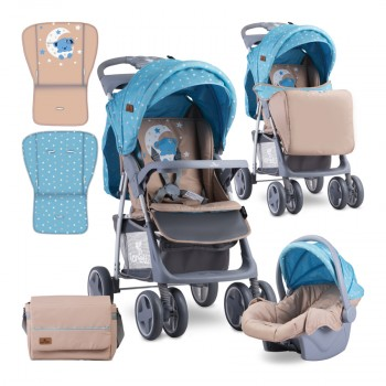 BABY STROLLER FOXY SET BLUE&BEIGE MOON BEAR