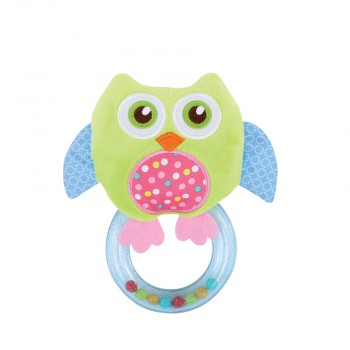 RATTLE WITH RING OWL GREEN