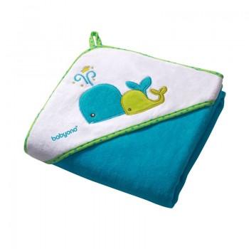 Babyono: Πετσέτα Βελουτέ με κουκούλα 100 x 100