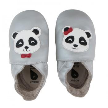 Βρεφικά Δερμάτινα Παπούτσια Soft sole Silver Panda