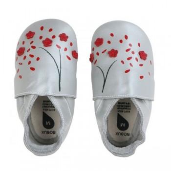 Βρεφικά Δερμάτινα Παπούτσια Soft sole Silver Cherry Blossom