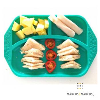 Παιδικό Πιάτο divided φαγητού σιλικόνης με χωρίσματα Τιρκουάζ Marcus & Marcus Ηλικία : 18 μηνών+